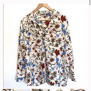Zara basic creme floral blouse